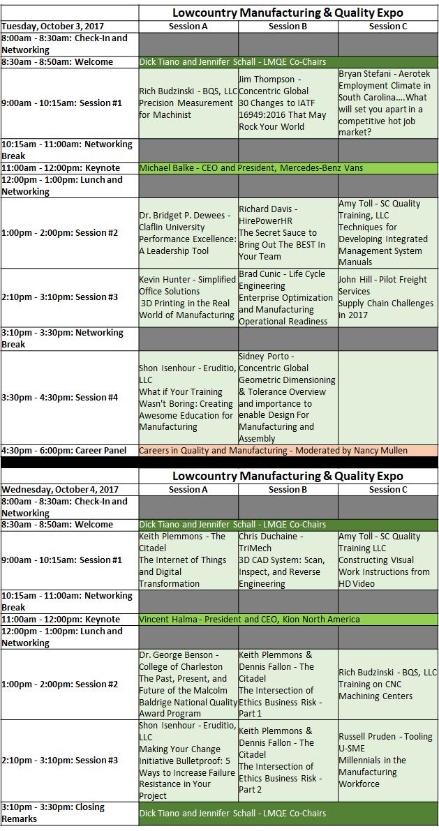 Speaker Agenda for Website